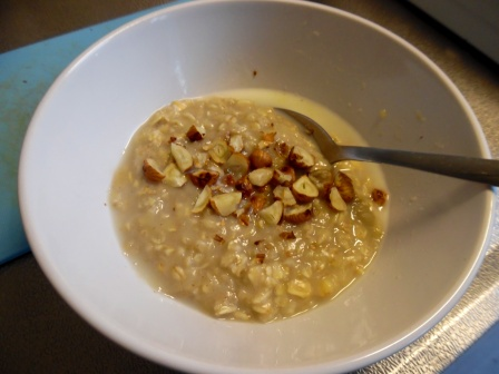 chai spiced banana oatmeal with hazelnuts