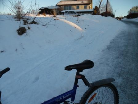 biking through snow