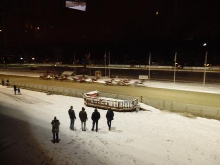 "An evening out at the races. It was a very surprising experience, with snow lying all around and ""heavier"" horses participating as well."